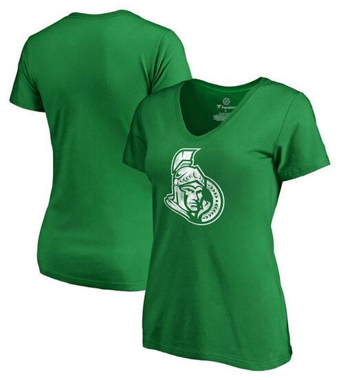 Ottawa Senators Fanatics Branded Women's Plus Sizes St. Patrick's Day White Logo T-Shirt Kelly Green