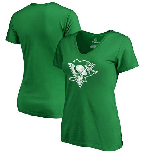 Pittsburgh Penguins Fanatics Branded Women's St. Patrick's Day White Logo T-Shirt Kelly Green