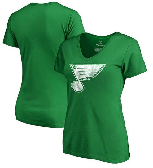 St. Louis Blues Fanatics Branded Women's St. Patrick's Day White Logo T-Shirt Kelly Green
