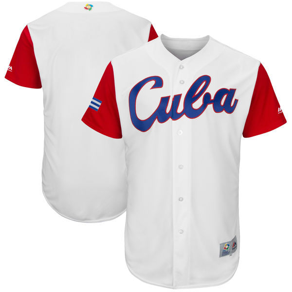 Men's Cuba Baseball Majestic White 2017 World Baseball Classic Authentic Team Jersey