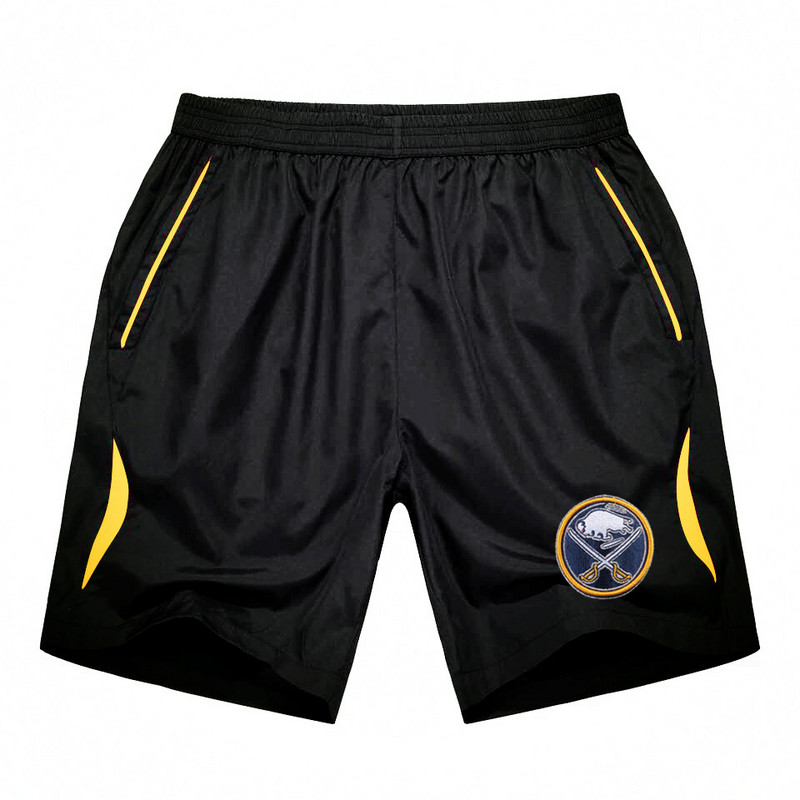 Men's Buffalo Sabres Black Gold Stripe Hockey Shorts