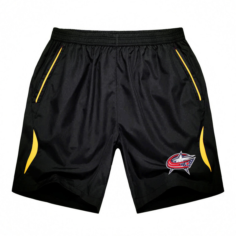 Men's Columbus Blue Jackets Black Gold Stripe Hockey Shorts