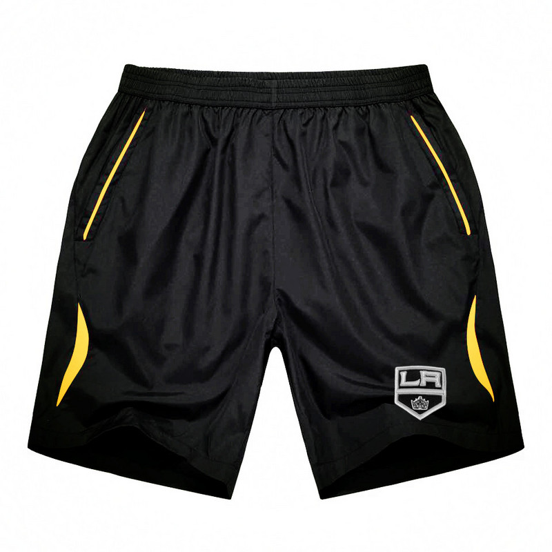 Men's Los Angeles Kings Black Gold Stripe Hockey Shorts