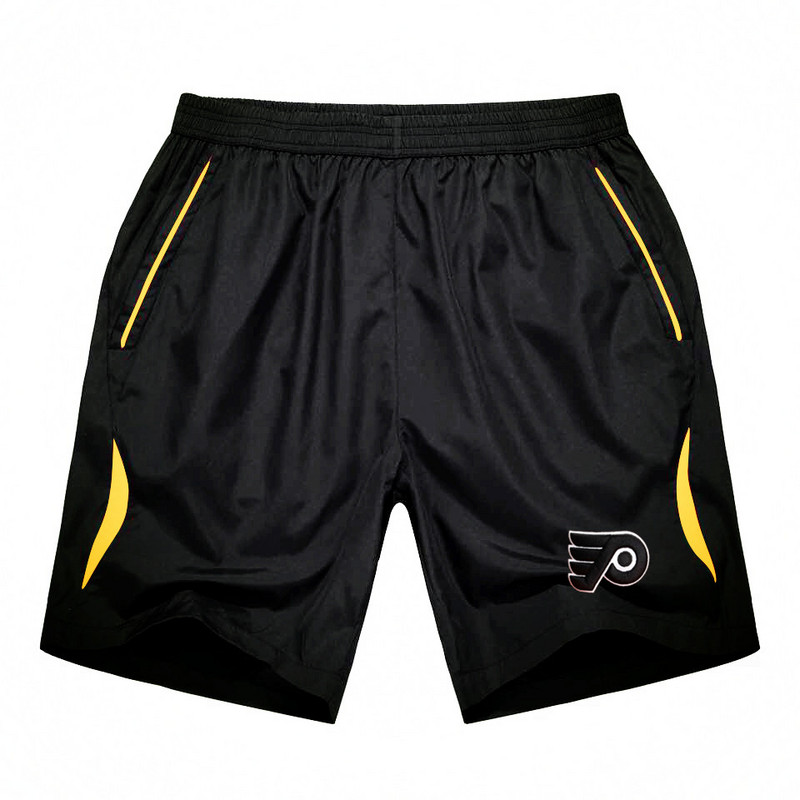 Men's Philadelphia Flyers Black Gold Stripe Hockey Shorts