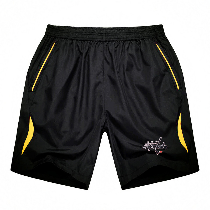 Men's Washington Capitals Black Gold Stripe Hockey Shorts