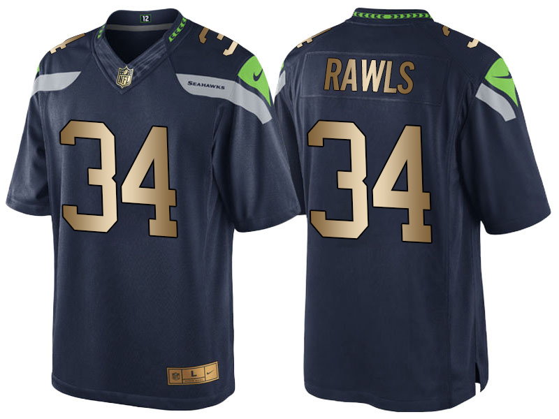 Nike Seahawks 34 Thomas Rawls Navy Gold Game Jersey