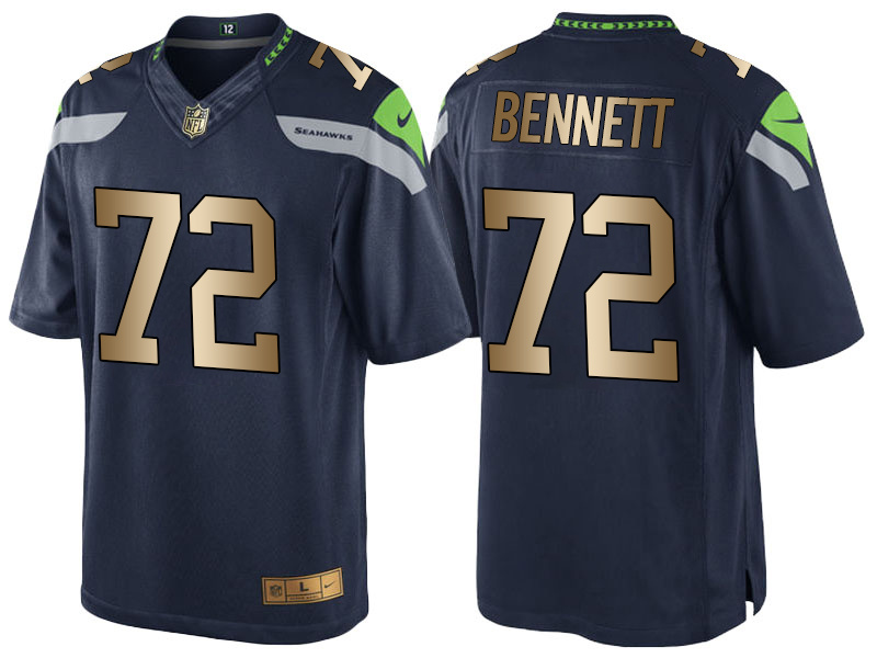 Nike Seahawks 72 Michael Bennett Navy Gold Game Jersey