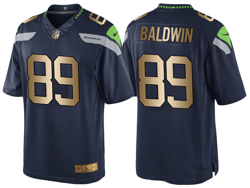 Nike Seahawks 89 Doug Baldwin Navy Gold Game Jersey