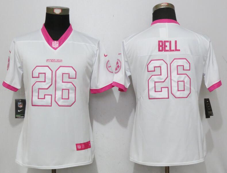 Nike Steelers 26 Kenny Bell White Pink Women Limited Jersey