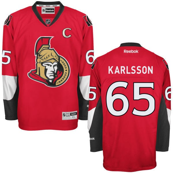 Senators 65 Erik Karlsson Red Reebok C Patch Jersey