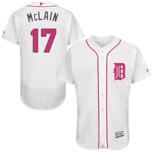 Tigers 17 Danny McLain White Mother's Day Flexbase Jersey