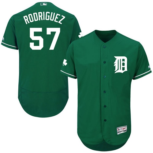 Tigers 57 Francisco Rodriguez Green Celtic Flexbase Jersey
