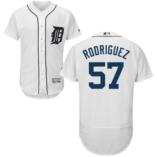 Tigers 57 Francisco Rodriguez White Flexbase Jersey