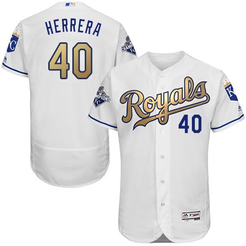 Royals 40 Kelvin Herrera White 2015 World Series Champions Gold Program Flexbase Jersey