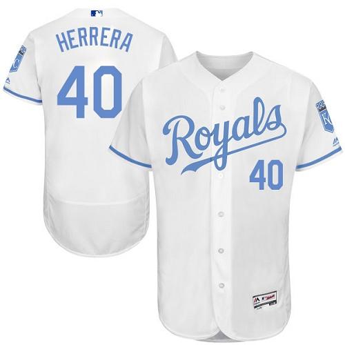 Royals 40 Kelvin Herrera White Father's Day Flexbase Jersey