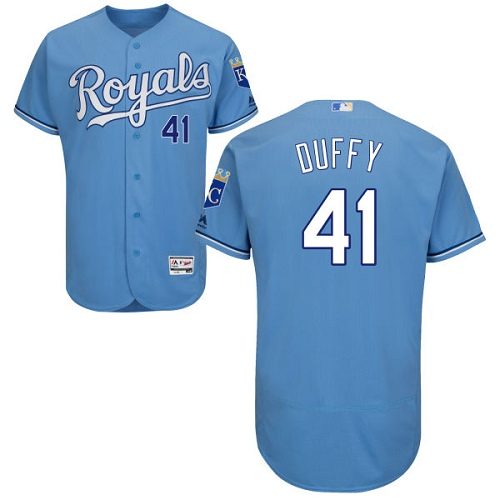 Royals 41 Danny Duffy Light Blue Flexbase Jersey