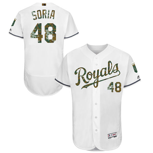 Royals 48 Joakim Soria White Memorial Day Flexbase Jersey