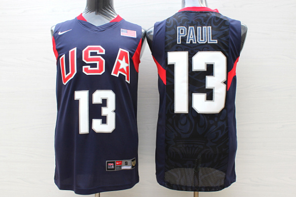 Team USA Basketball 13 Chris Paul Navy Nike Stitched Jersey