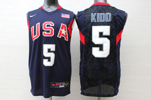Team USA Basketball 5 Jason Kidd Navy Nike Stitched Jersey