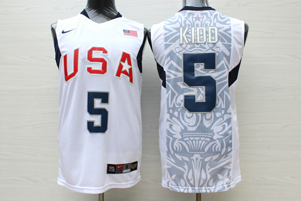 Team USA Basketball 5 Jason Kidd White Nike Stitched Jersey