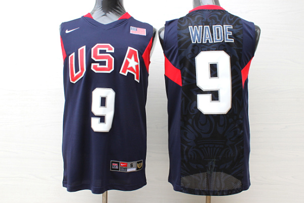 Team USA Basketball 9 Dwyane Wade Navy Nike Stitched Jersey