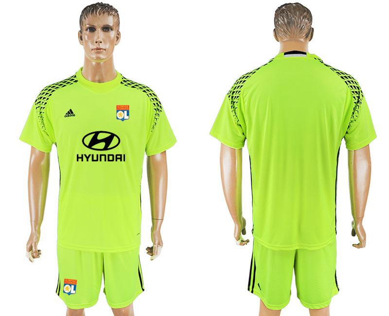 2017-18 Lyon Fluorescent Green Goalkeeper Soccer Jersey