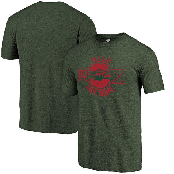 Minnesota Wild Fanatics Branded Personalized Insignia Tri Blend T-Shirt Green