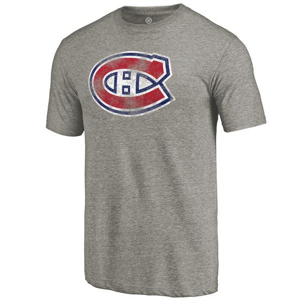 Montreal Canadiens Distressed Team Logo Tri Blend T-Shirt Ash