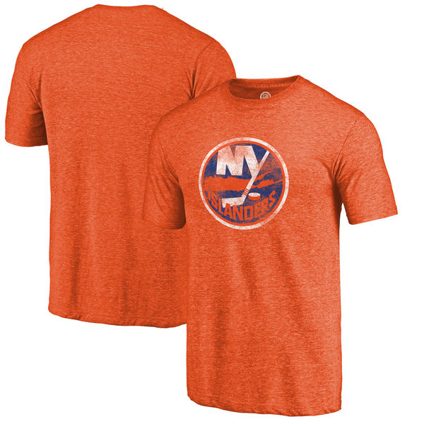 New York Islanders Distressed Team Primary Logo Tri Blend T-Shirt Orange