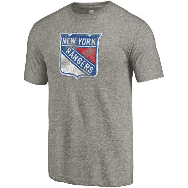 New York Rangers Distressed Team Primary Logo Tri Blend T-Shirt Gray
