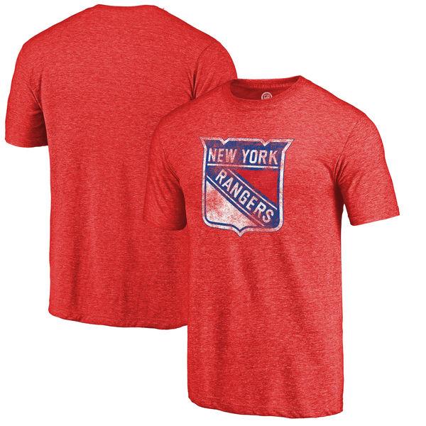 New York Rangers Distressed Team Primary Logo Tri Blend T-Shirt Red