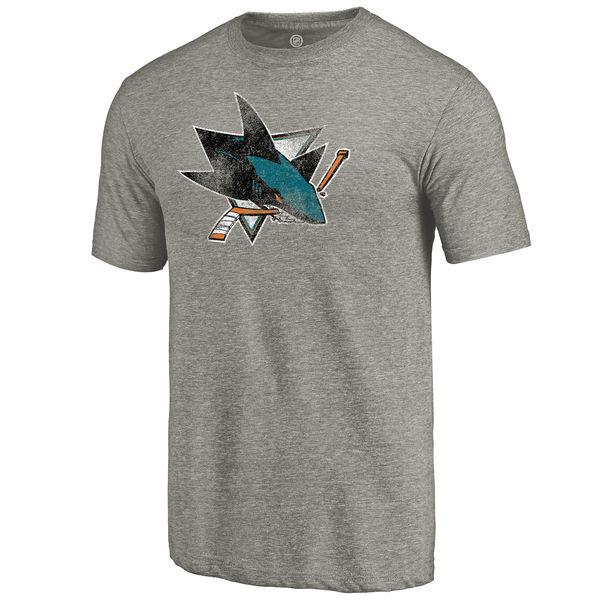 San Jose Sharks Distressed Team Logo Tri Blend T-Shirt Ash