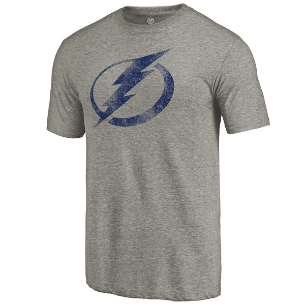 Tampa Bay Lightning Distressed Team Logo Tri Blend T-Shirt Ash
