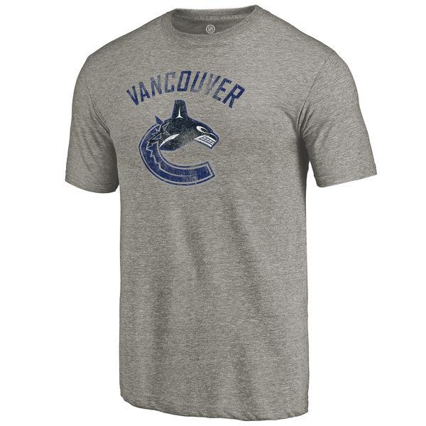 Vancouver Canucks Distressed Team Logo Tri Blend T-Shirt Ash