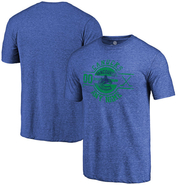 Vancouver Canucks Fanatics Branded Personalized Insignia Tri Blend T-Shirt Royal