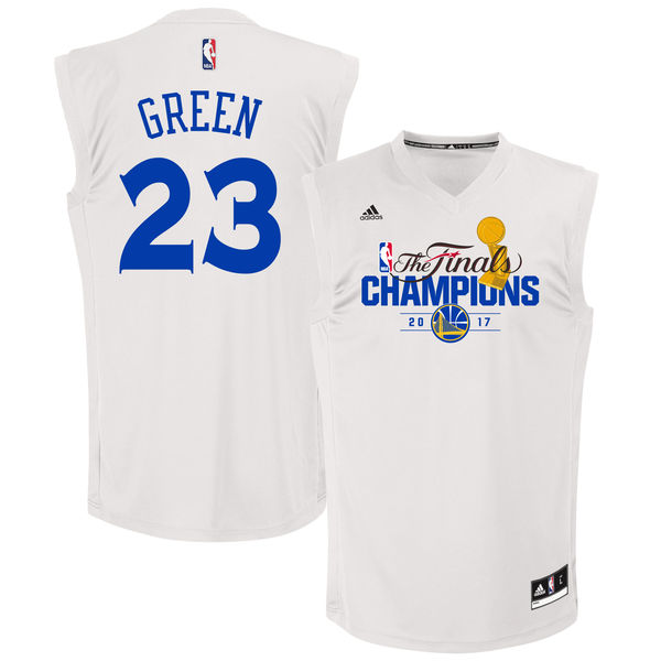 Warriors 23 Draymond Green White 2017 NBA Champions Replica Jersey