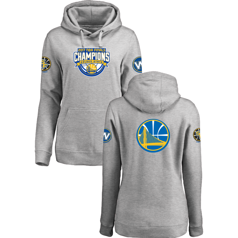 Golden State Warriors 2017 NBA Champions Gray Women's Pullover Hoodie2