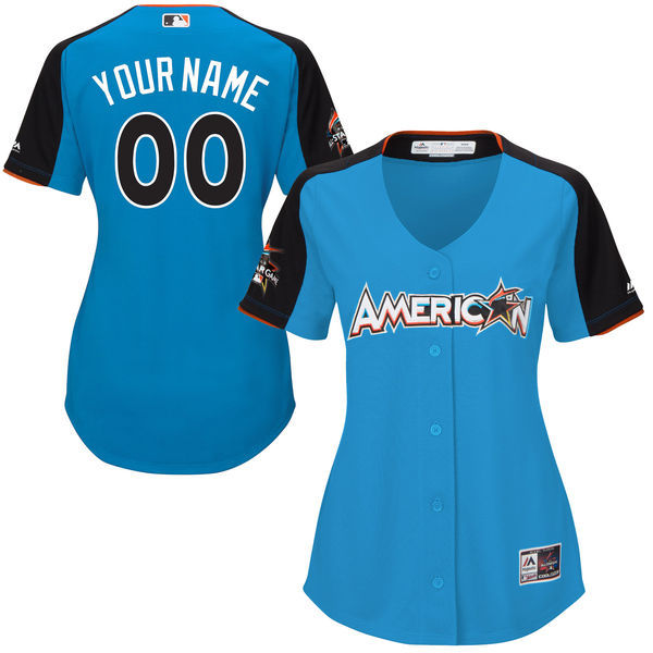 Women's American League Majestic Blue 2017 MLB All-Star Game Personalized Home Run Derby Jersey