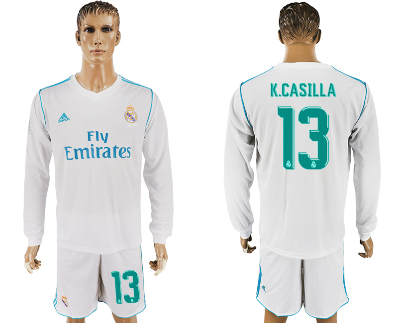 2017-18 Real Madrid 13 K.CASILLA Home Long Sleeve Soccer Jersey