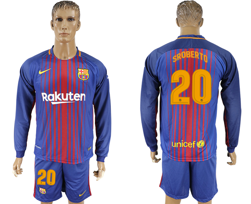 2017-18 Barcelona 20 SROBERTO Home Long Sleeve Soccer Jersey