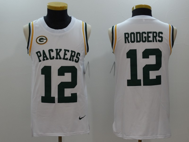 Nike Packers 12 Aaron Rodgers White Color Rush Name & Number Tank Top