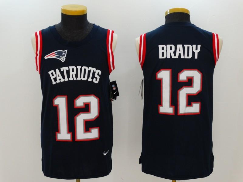Nike Patriots 12 Tom Brady Navy Color Rush Name & Number Tank Top