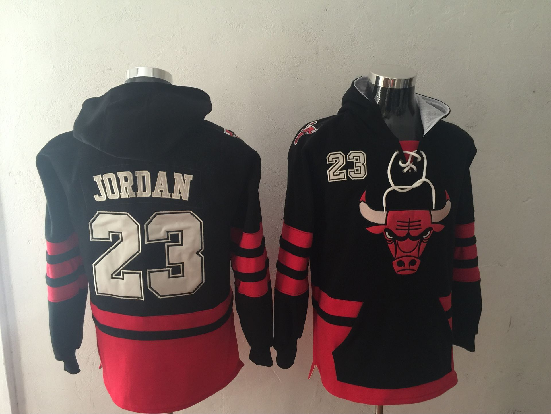 Bulls 23 Michael Jordan Black All Stitched Hooded Sweatshirt