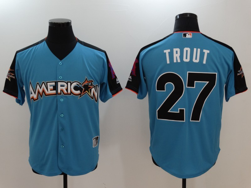 American League 27 Mike Trout Blue 2017 MLB All-Star Game Home Run Derby Jersey