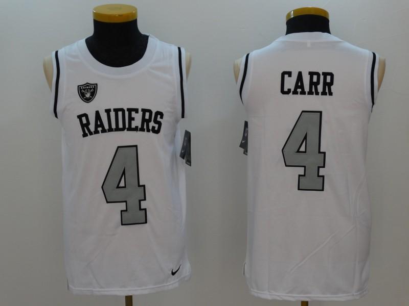 Raiders 4 Derek Carr White Color Rush Men's Tank Top