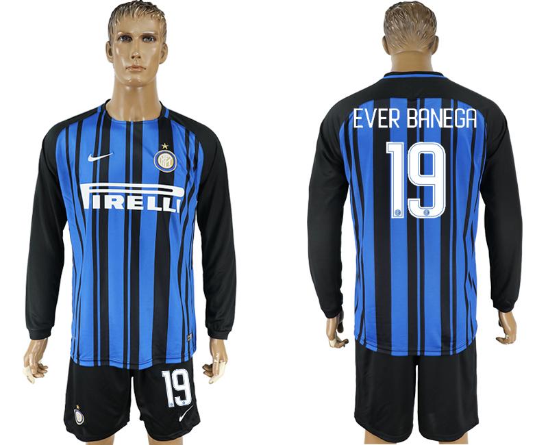 2017-18 Inter Milan 19 EVER BANEGA Home Long Sleeve Soccer Jersey