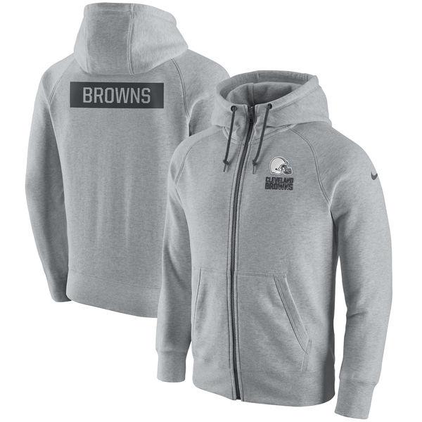 Men's Cleveland Browns Nike Ash Gridiron Gray 2.0 Full Zip Hoodie