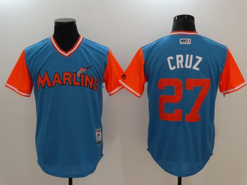 Marlins 27 Giancarlo Stanton Cruz Majestic Blue 2017 Players Weekend Jersey