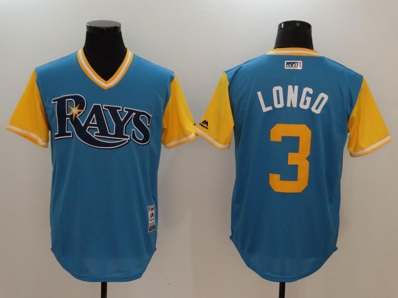 Rays 3 Evan Longoria Longo Majestic Light Blue 2017 Players Weekend Jersey