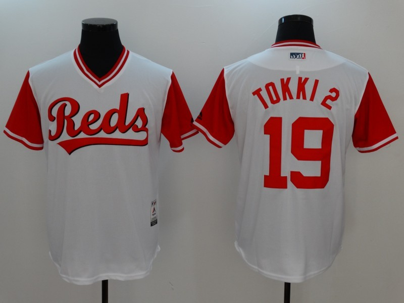 Reds 19 Joey Votto Tokki Majestic White 2017 Players Weekend Jersey